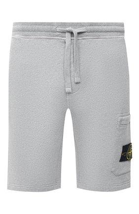 Мужские хлопковые шорты STONE ISLAND светло-серого цвета, арт. 731564620 | Фото 1