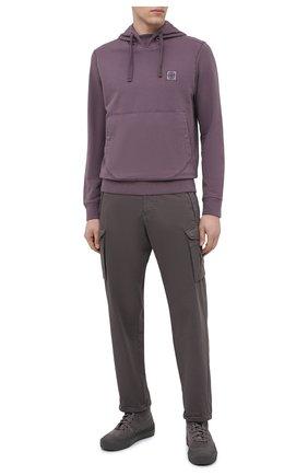 Мужской хлопковое худи STONE ISLAND фиолетового цвета, арт. 731562937 | Фото 2