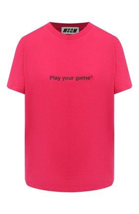 Женская хлопковая футболка MSGM фуксия цвета, арт. 2945MDM33 207648 | Фото 1
