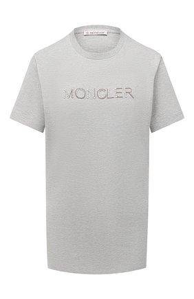 Женская хлопковая футболка MONCLER серого цвета, арт. F2-093-8C771-10-V8058 | Фото 1