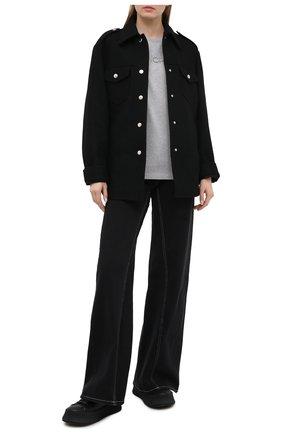 Женская хлопковая футболка MONCLER серого цвета, арт. F2-093-8C771-10-V8058 | Фото 2
