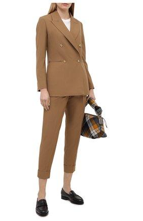Женские шерстяные брюки CASASOLA бежевого цвета, арт. TRS-Z-LEBL0N/W00L-SILK-LINEN | Фото 2