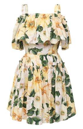 Женское хлопковое платье DOLCE & GABBANA желтого цвета, арт. F63X7T/HS5IA   Фото 1