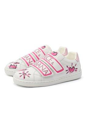 Детские кожаные кеды DOLCE & GABBANA розового цвета, арт. E10902/B6302/29-36   Фото 1
