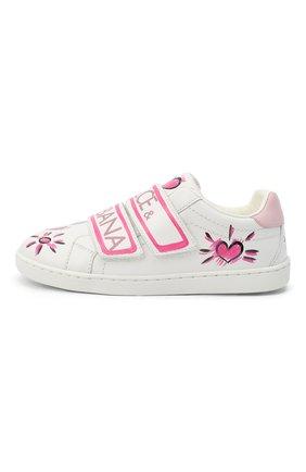 Детские кожаные кеды DOLCE & GABBANA розового цвета, арт. E10902/B6302/29-36   Фото 2