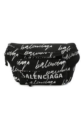 Мужская текстильная поясная сумка wheel BALENCIAGA черно-белого цвета, арт. 533009/9MIPN | Фото 1