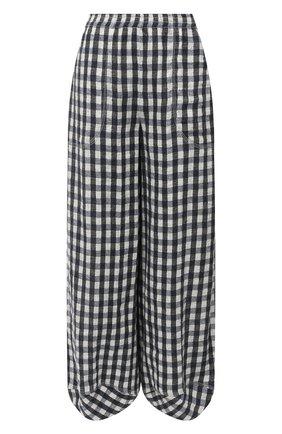 Женские льняные брюки GIORGIO ARMANI черно-белого цвета, арт. 0WHPP0EK/T022K | Фото 1