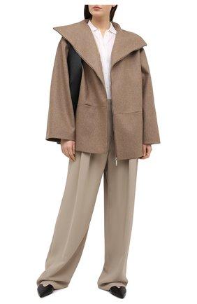 Женские брюки из вискозы и шелка GIORGIO ARMANI бежевого цвета, арт. 0WHPP0DD/T008A | Фото 2