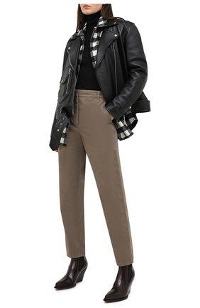 Женские хлопковые брюки GIORGIO ARMANI хаки цвета, арт. 0WHPP0EM/T022S | Фото 2