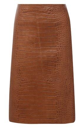 Женская кожаная юбка RALPH LAUREN коричневого цвета, арт. 293829106 | Фото 1
