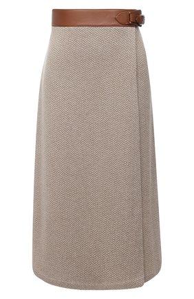 Женская кашемировая юбка RALPH LAUREN бежевого цвета, арт. 290815756 | Фото 1