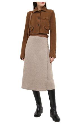 Женская кашемировая юбка RALPH LAUREN бежевого цвета, арт. 290815756 | Фото 2