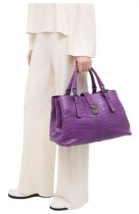 Женская сумка из кожи крокодила BOTTEGA VENETA сиреневого цвета, арт. 291490/V9022 | Фото 2
