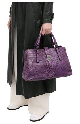 Женская сумка из кожи крокодила BOTTEGA VENETA фиолетового цвета, арт. 291490/V9022 | Фото 2