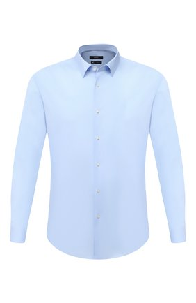 Мужская хлопковая сорочка BOSS голубого цвета, арт. 50440261 | Фото 1 (Длина (для топов): Стандартные; Рукава: Длинные; Материал внешний: Хлопок; Случай: Формальный; Рубашки М: Slim Fit; Воротник: Кент; Стили: Классический; Принт: Однотонные; Мужское Кросс-КТ: Сорочка-одежда; Манжеты: На пуговицах)