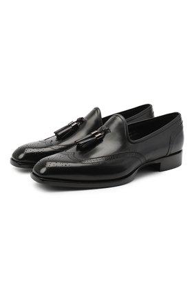 Мужские кожаные лоферы SANTONI черного цвета, арт. MCRA17413LE1FVVDN01 | Фото 1