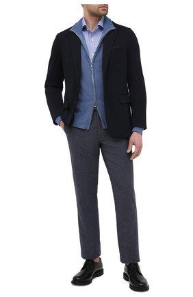 Мужская хлопковая сорочка VAN LAACK синего цвета, арт. MIVARA-SF/163277 | Фото 2 (Материал внешний: Хлопок; Рукава: Длинные; Длина (для топов): Стандартные; Мужское Кросс-КТ: Сорочка-одежда; Принт: Клетка; Случай: Формальный; Рубашки М: Slim Fit; Манжеты: На пуговицах; Воротник: Акула; Стили: Классический)