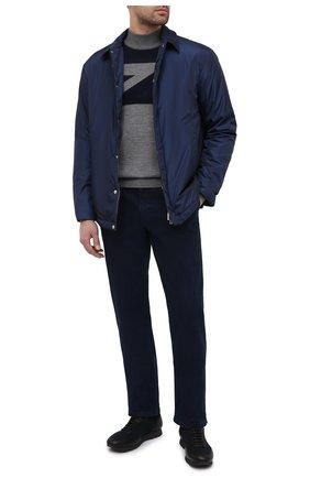 Мужские джинсы ZILLI темно-синего цвета, арт. MCU-00630-DEJA1/R001 | Фото 2 (Длина (брюки, джинсы): Стандартные; Материал внешний: Хлопок; Силуэт М (брюки): Прямые; Стили: Кэжуэл)