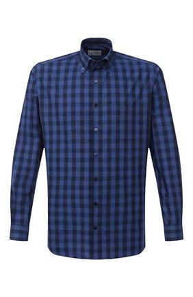 Мужская хлопковая рубашка ZILLI SPORT синего цвета, арт. MFU-7025-0001/0016 | Фото 1