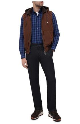 Мужская хлопковая рубашка ZILLI SPORT синего цвета, арт. MFU-7025-0001/0016 | Фото 2