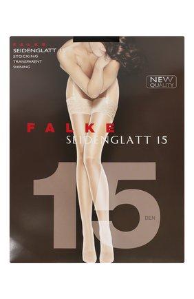 Женские чулки seidenglatt 15 FALKE черного цвета, арт. 41519   Фото 1