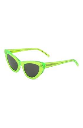 Женские солнцезащитные очки SAINT LAURENT зеленого цвета, арт. SL 213 LILY   Фото 1 (Очки форма: Cat-eye; Тип очков: С/з)