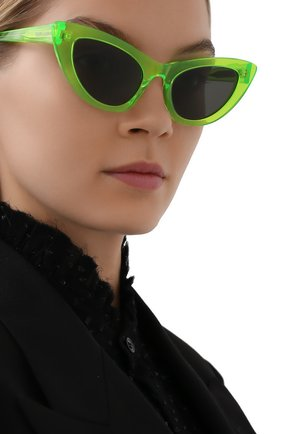 Женские солнцезащитные очки SAINT LAURENT зеленого цвета, арт. SL 213 LILY   Фото 2 (Очки форма: Cat-eye; Тип очков: С/з)