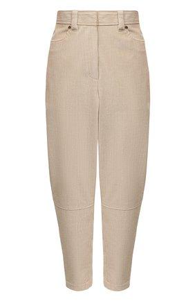 Женские хлопковые брюки BRUNELLO CUCINELLI бежевого цвета, арт. MA180P7515 | Фото 1