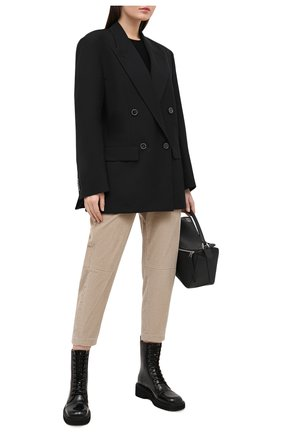 Женские хлопковые брюки BRUNELLO CUCINELLI бежевого цвета, арт. MA180P7515 | Фото 2