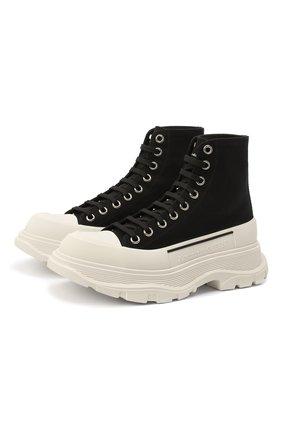 Женские текстильные ботинки ALEXANDER MCQUEEN черно-белого цвета, арт. 611706/W4L32 | Фото 1