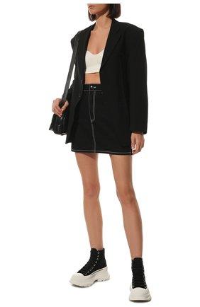 Женские текстильные ботинки ALEXANDER MCQUEEN черно-белого цвета, арт. 611706/W4L32 | Фото 2