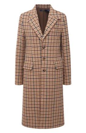 Женское шерстяное пальто POLO RALPH LAUREN коричневого цвета, арт. 211814987   Фото 1