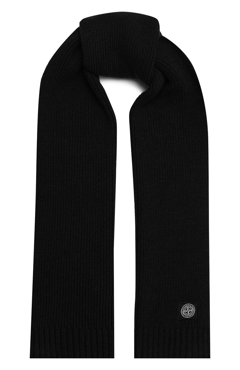 Детский шарф из шерсти и вискозы STONE ISLAND черного цвета, арт. 7316N02A8 | Фото 1