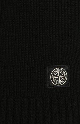 Детский шарф из шерсти и вискозы STONE ISLAND черного цвета, арт. 7316N02A8 | Фото 2