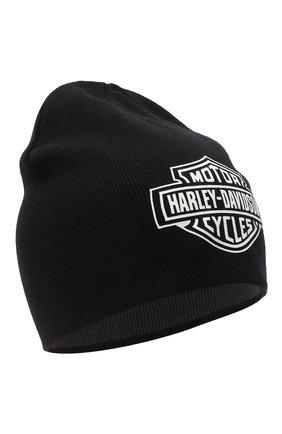 Мужская двусторонняя шапка HARLEY-DAVIDSON черного цвета, арт. 97618-21VM   Фото 1