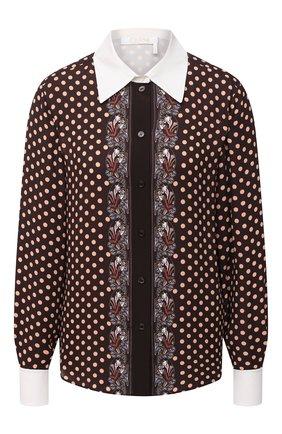 Женская рубашка из вискозы CHLOÉ коричневого цвета, арт. CHC20WHT71342   Фото 1