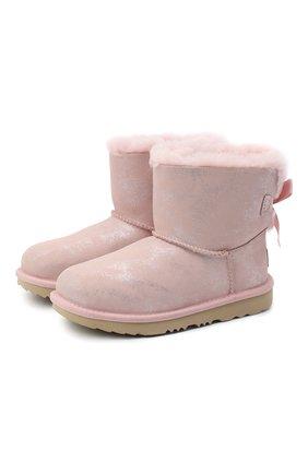 Детские угги mini bailey bow ii shimmer UGG розового цвета, арт. 1116173K_PCD   Фото 1