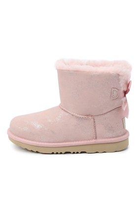 Детские угги mini bailey bow ii shimmer UGG розового цвета, арт. 1116173K_PCD   Фото 2