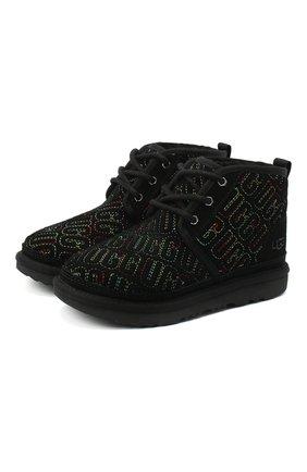 Детские ботинки neumel ii graphic stitch UGG черного цвета, арт. 1116170K_BLK   Фото 1