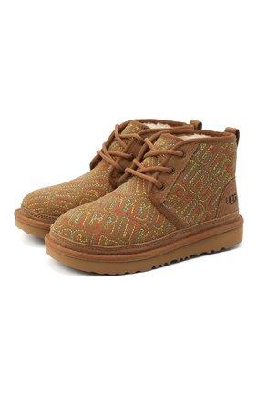 Детские ботинки neumel ii graphic stitch UGG коричневого цвета, арт. 1116170K_CHE   Фото 1