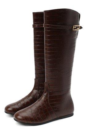 Детские кожаные сапоги FENDI коричневого цвета, арт. JFR311/TC3/27-31   Фото 1 (Материал внутренний: Натуральная кожа; Материал внешний: Кожа)