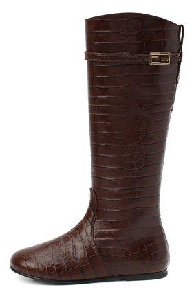 Детские кожаные сапоги FENDI коричневого цвета, арт. JFR311/TC3/27-31   Фото 2 (Материал внутренний: Натуральная кожа; Материал внешний: Кожа)