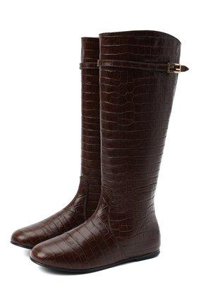 Детские кожаные сапоги FENDI коричневого цвета, арт. JFR311/TC3/32-39 | Фото 1