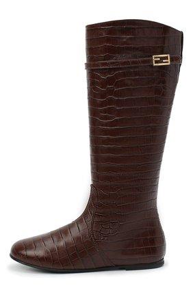Детские кожаные сапоги FENDI коричневого цвета, арт. JFR311/TC3/32-39 | Фото 2