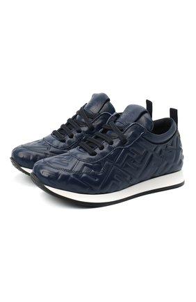 Детские кожаные кроссовки FENDI темно-синего цвета, арт. JMR339/AADS/27-31 | Фото 1