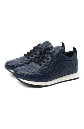 Детские кожаные кроссовки FENDI темно-синего цвета, арт. JMR339/AADS/32-39 | Фото 1
