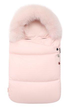 Детский пуховый конверт MONCLER светло-розового цвета, арт. F2-951-1G509-02-53333 | Фото 1