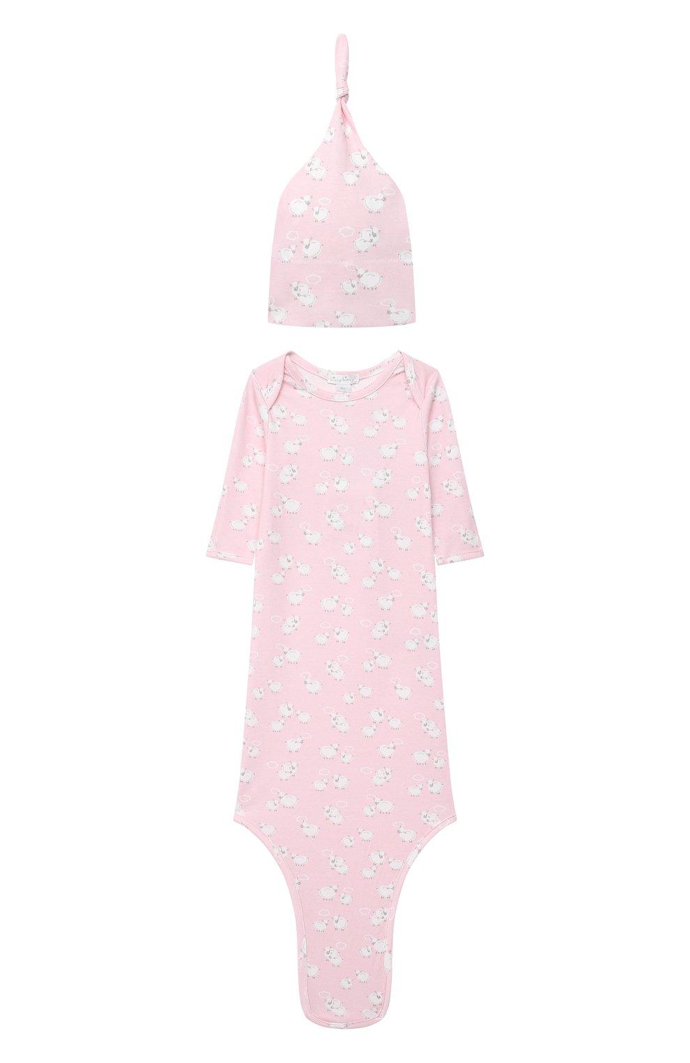 Детского комплект из платья на завязке и шапки KISSY KISSY розового цвета, арт. KGW05039N | Фото 1 (Материал внешний: Хлопок; Ростовка одежда: 0 - 3 мес | 50 - 60 см)