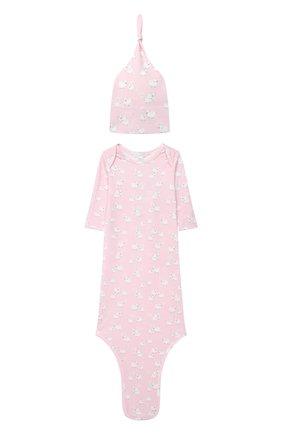 Детского комплект из платья на завязке и шапки KISSY KISSY розового цвета, арт. KGW05039N | Фото 1