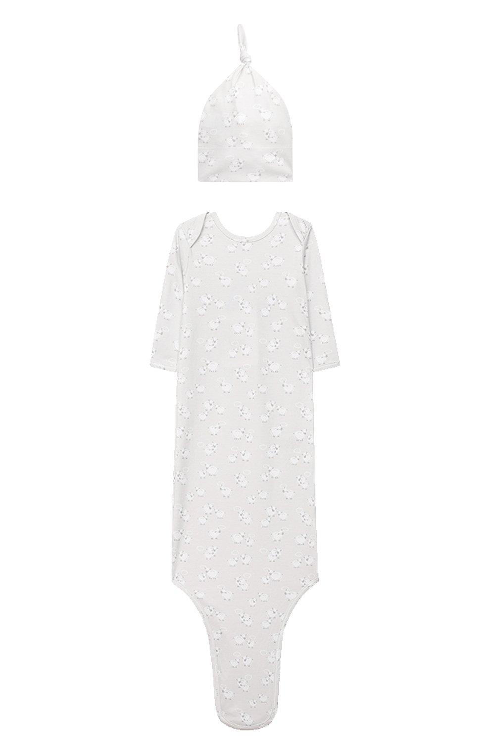 Детского комплект из платья на завязке и шапки KISSY KISSY серого цвета, арт. KNW05046N   Фото 1